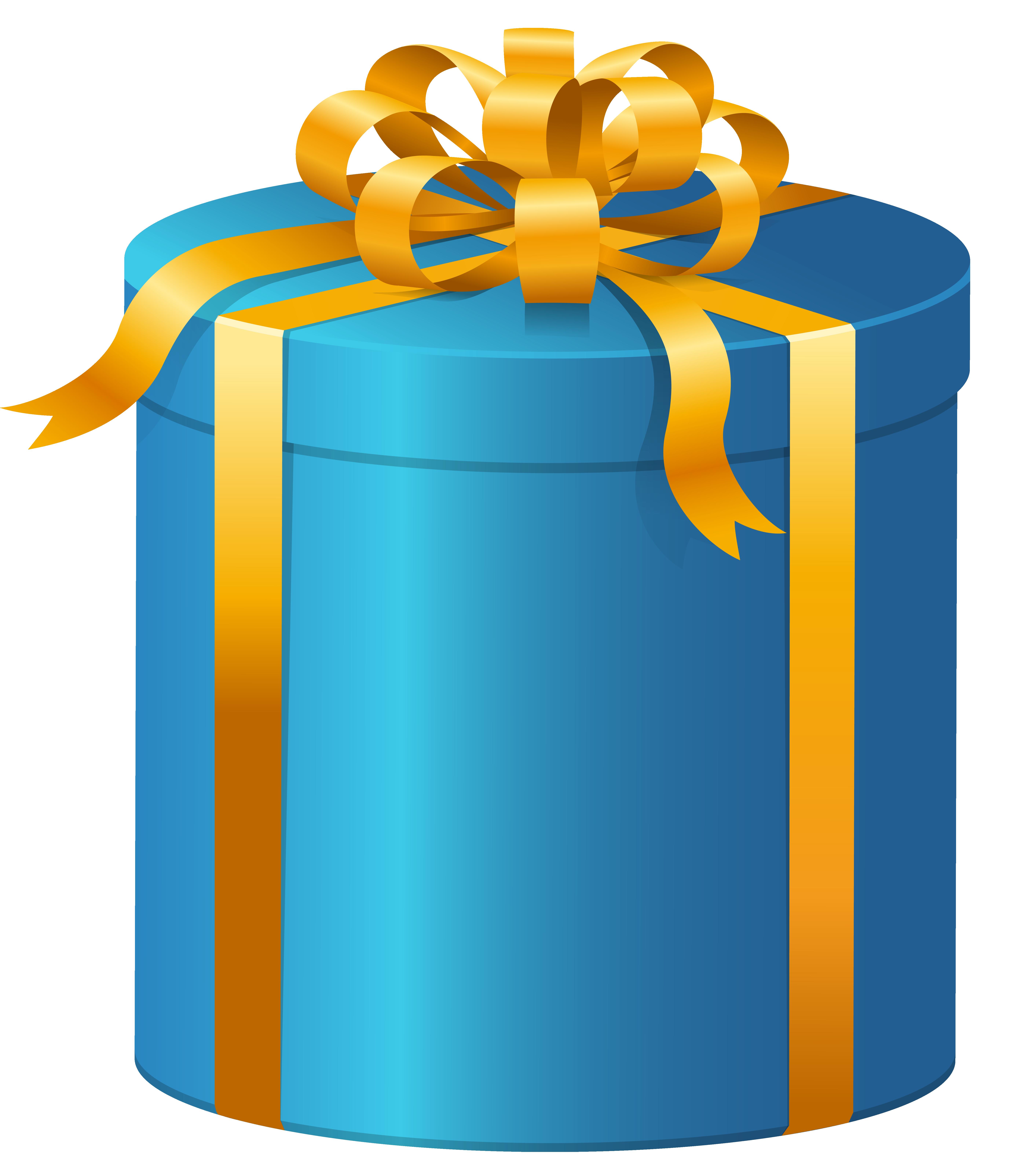 vector free Present clipart. Blue box png clip.