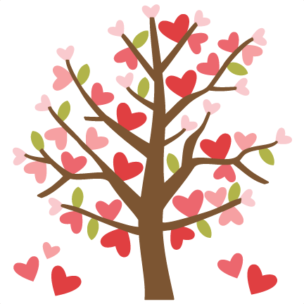 picture black and white download Valentine Tree SVG cutting files valentines day clipart cute clipart