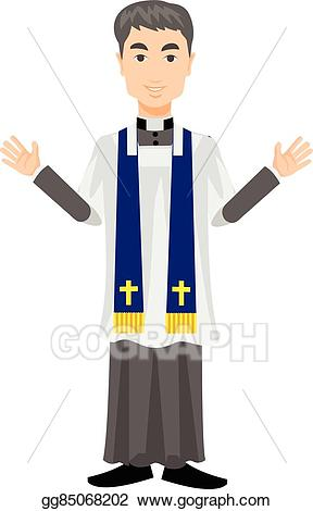 banner Vector catholic illustration . Priest clipart.
