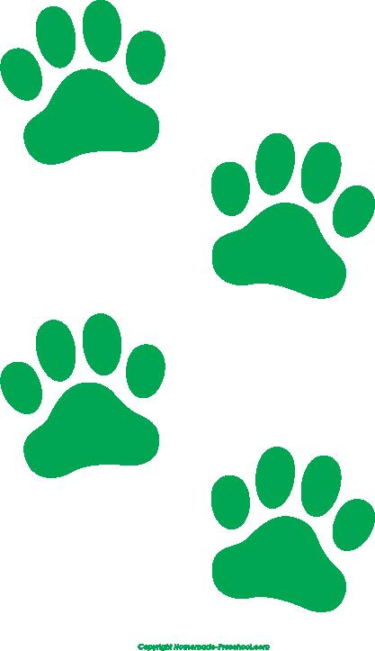 freeuse stock Prints clipart. Free paw green print.