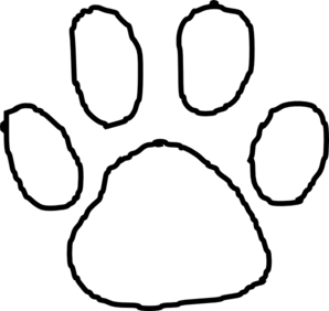 clip art black and white library Drawing prints black. Tiger paw print outline