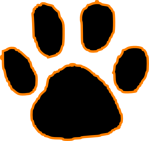 clip art library library Black Tiger Paw Print With Orange Outline Clip Art at Clker