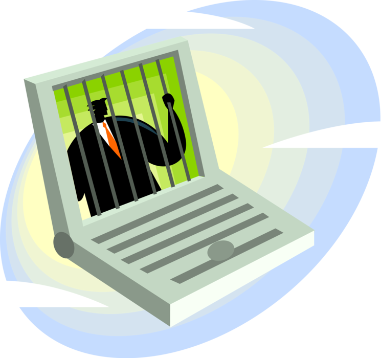 svg freeuse stock Incarcerated executive behind bars. Vector computer technology