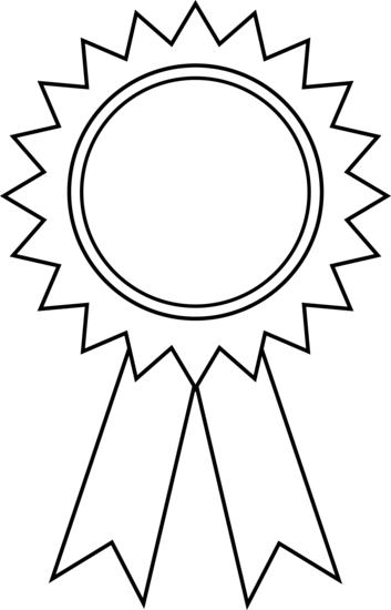 image black and white library Award Ribbon Outline