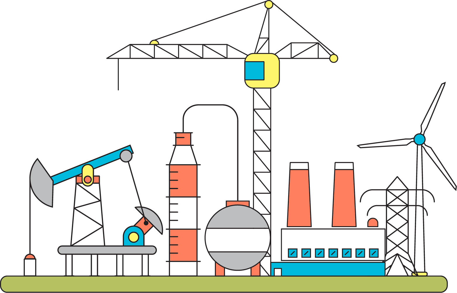 vector black and white Petroleum Oil refinery Factory Illustration
