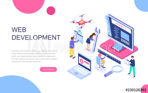 svg Modern flat design isometric concept of Web Development for