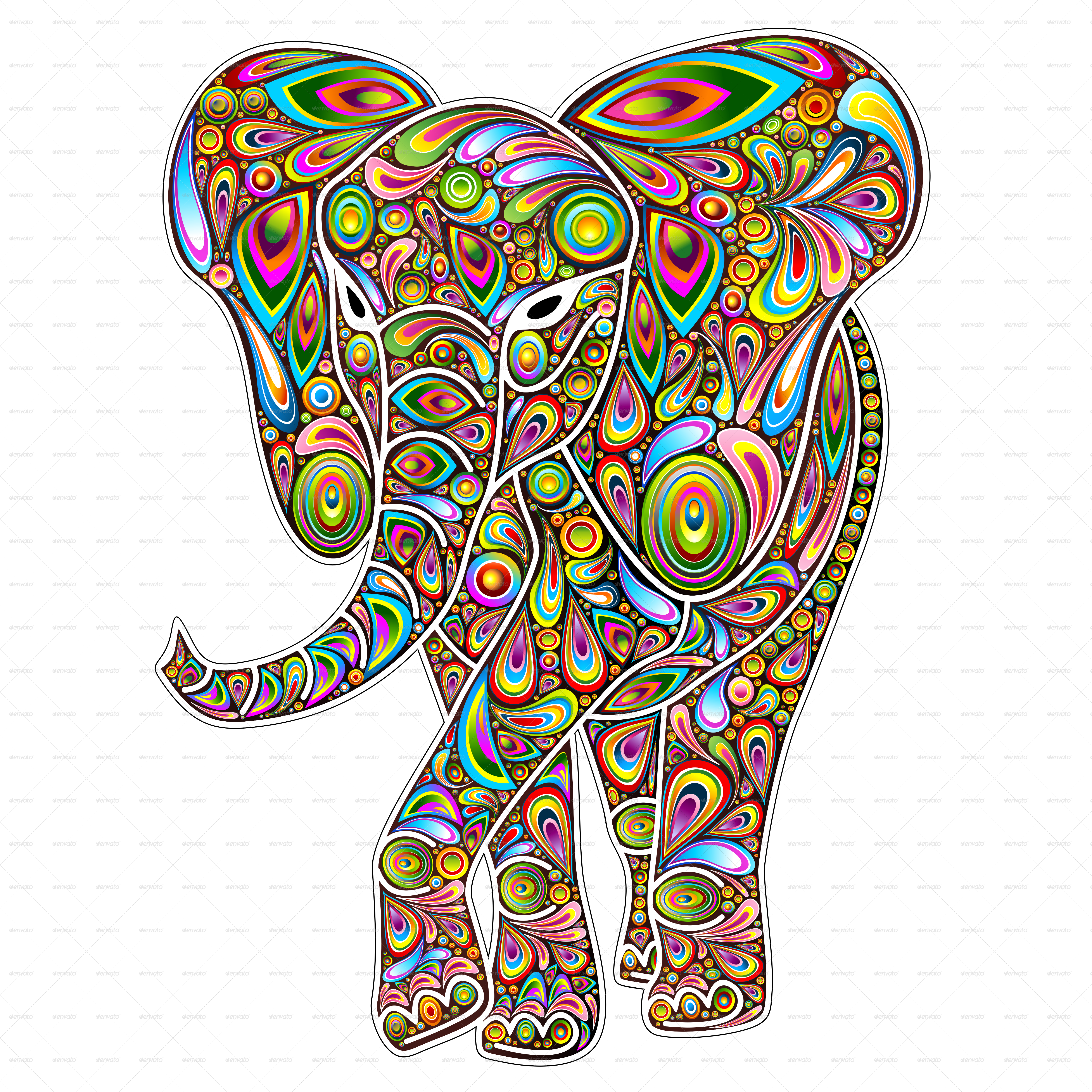 free library Psychedelic vector. Elephant pop art design.