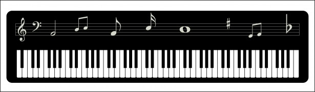 clip art royalty free Musical notes free stock. Piano keyboard clipart.