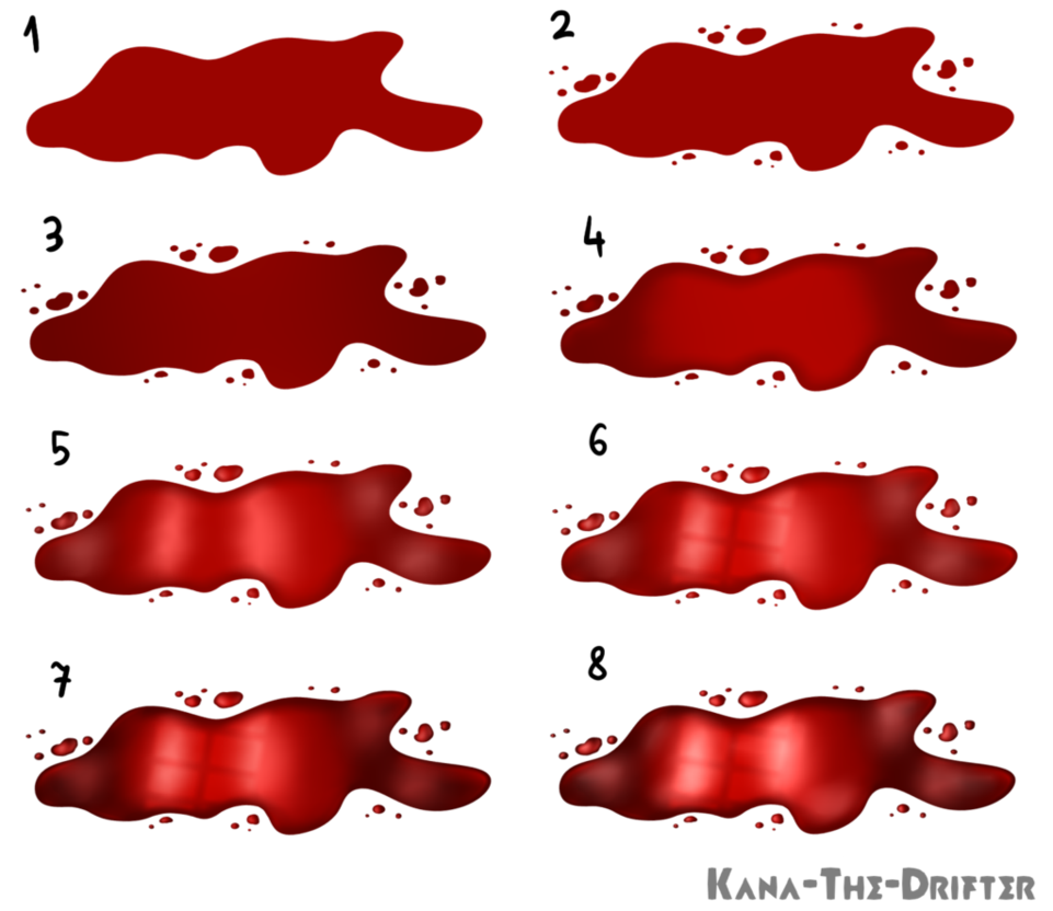 freeuse Blood step by tutorial. Drawing technique artist