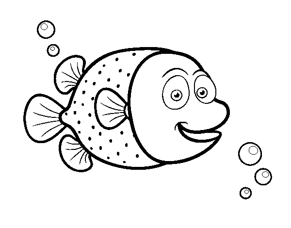 royalty free download Pufferfish of white dots coloring page