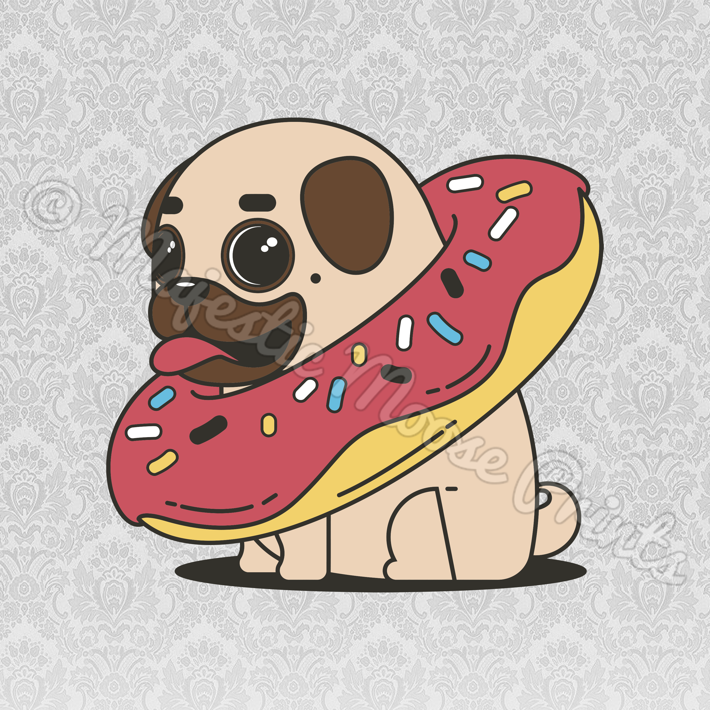 clipart black and white stock Pug clipart. Majestic moose prints donut.