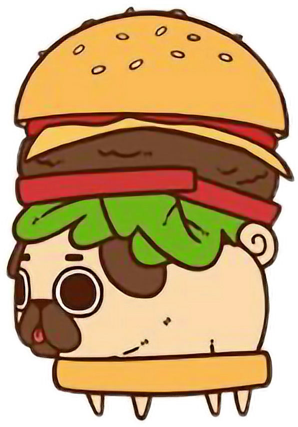 clip transparent stock Kawaii pug chibi food. Cheeseburger drawing cute
