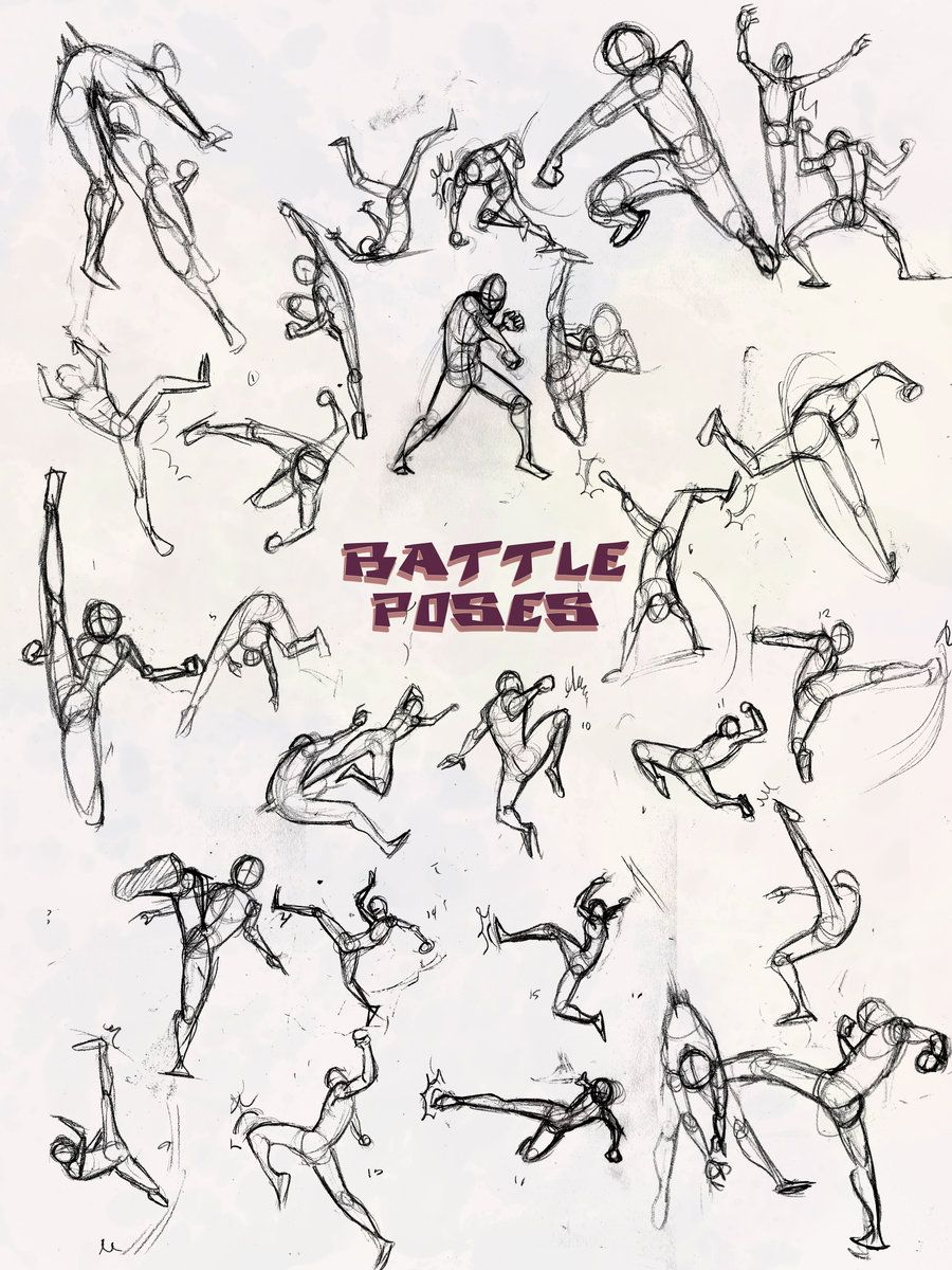image stock Battle poses kick and. Punch drawing