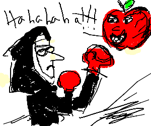graphic library The apple laughs as the nun winds up a punch