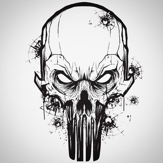 graphic black and white Little vector mouse click warm up with a Punisher Skull