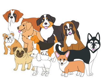 graphic library library  dog breeds. Puppies clipart