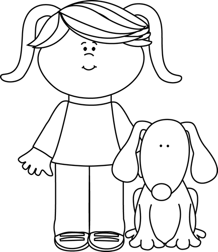 clip art transparent puppy clipart black and white black and white girl with pet dog clip