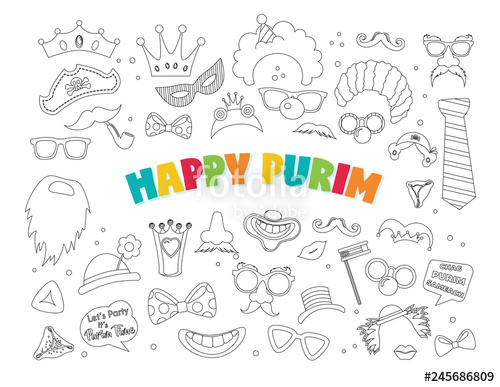 graphic library library Happy purim clipart. With carnival elements jewish