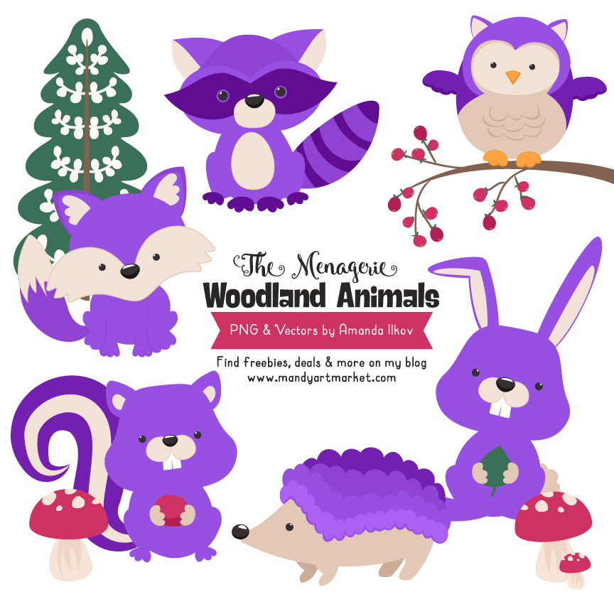 svg royalty free library Woodland animals . Purple animal clipart