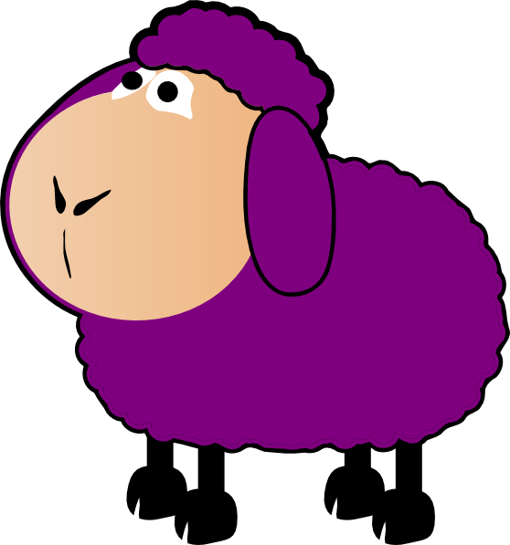 black and white Sheep clip art at. Purple animal clipart