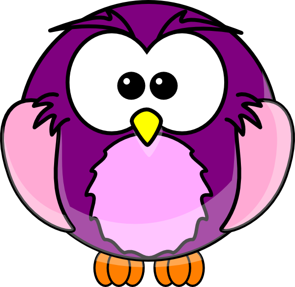banner transparent Purple animal clipart. Cartoon owl clip art
