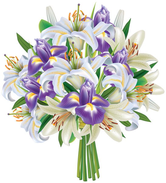 png royalty free Purple Iris Flowers and Lilies Bouquet PNG Clipart Image