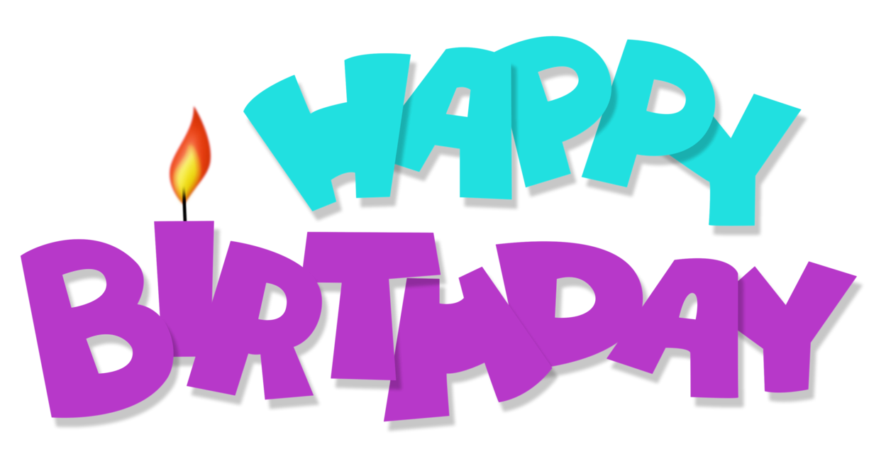 vector black and white Happy Birthday Transparent Blue and Purple PNG Picture