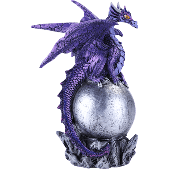 picture stock Purple Dragon on Silver Orb Statue