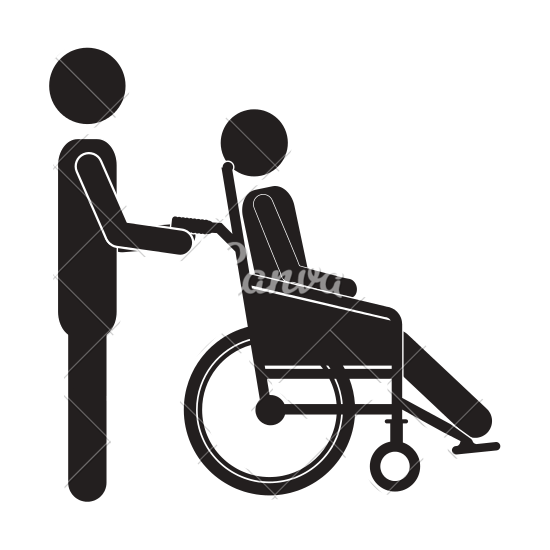 svg transparent download Wheelchair vector black and white.  collection of pushing.