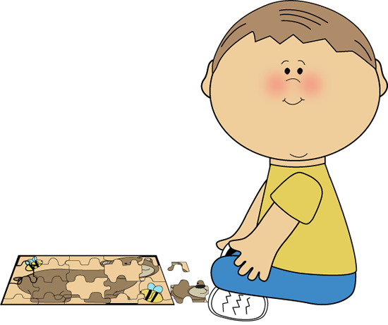 picture Boy with a puzzle. Clipart kids playing