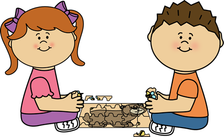 jpg royalty free Ape clipart kid. Kids putting a puzzle