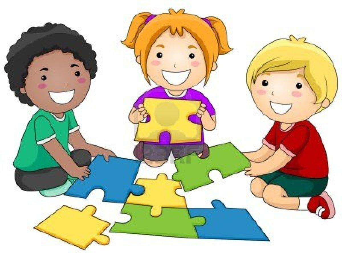 vector freeuse Puzzles free download best. Kids playing together clipart.
