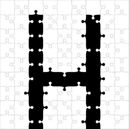 vector freeuse Black alphabet jigsaw illustration. Puzzles vector
