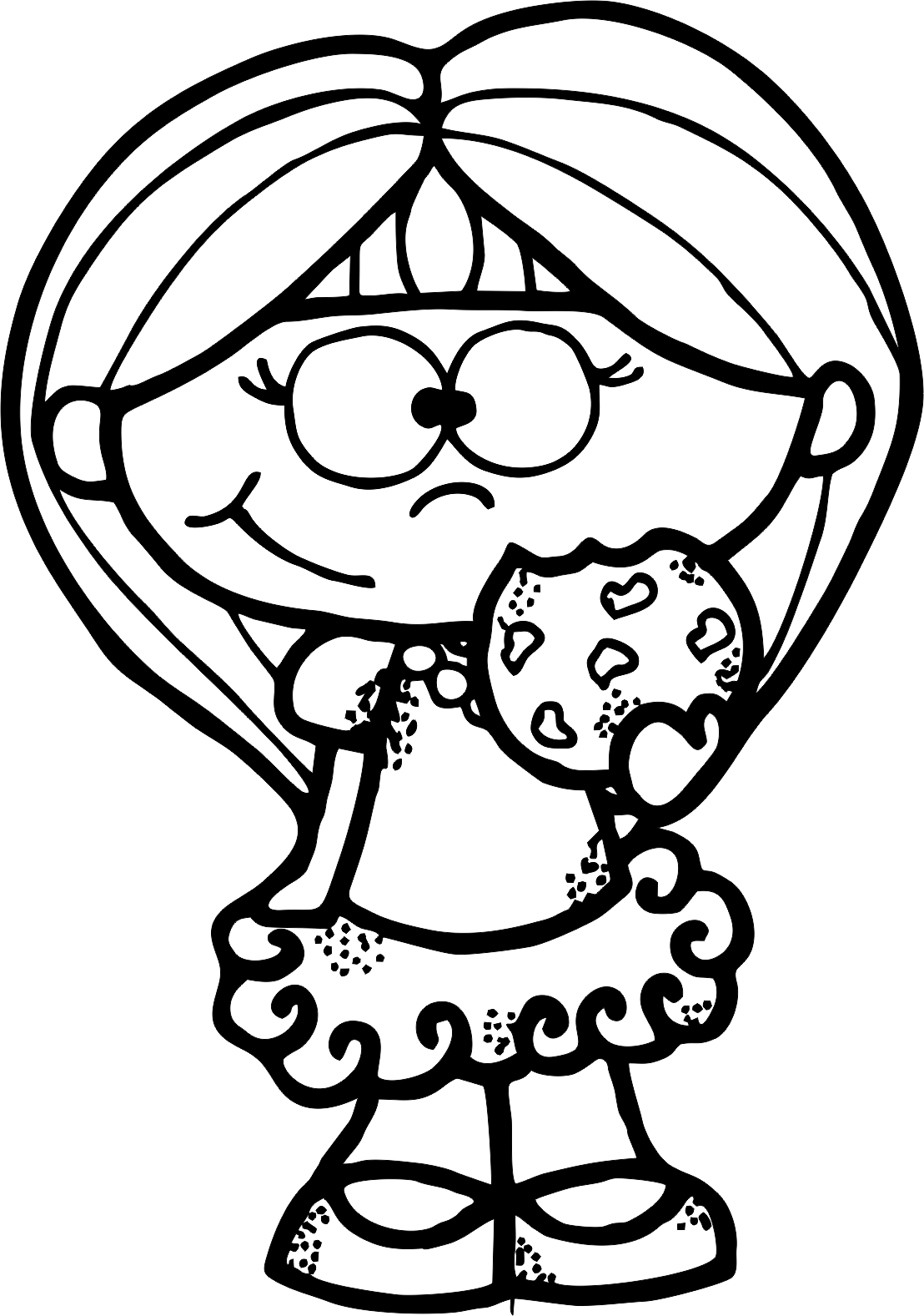image transparent stock Quiet clipart black and white. Cookie girl bw png