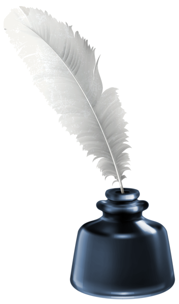 black and white stock Quill and blue pot. Writer clipart ink