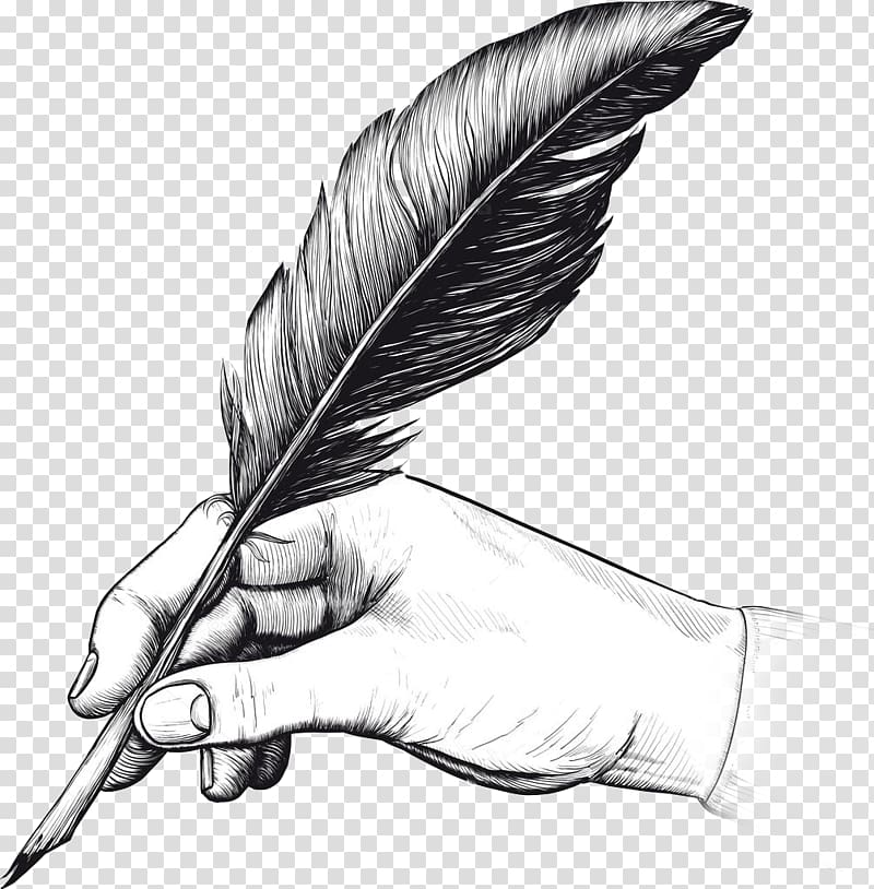 graphic stock Illustration fountain pen drawing. Quill clipart hand holding.