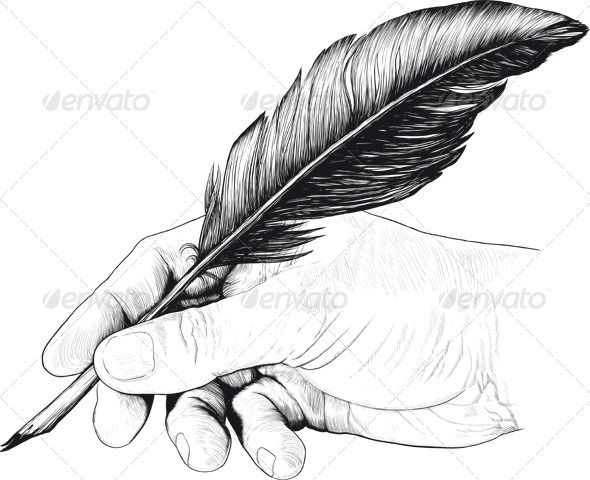 library Quill clipart hand holding. Vintage drawing of with.