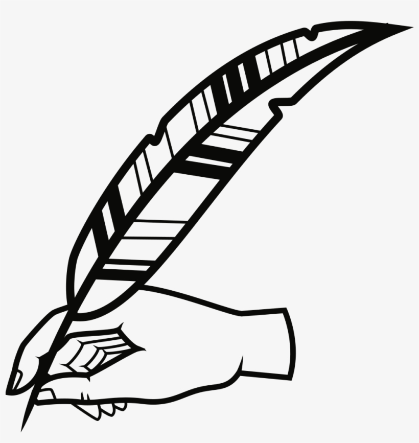 image library library With pen free transparent. Quill clipart hand holding.
