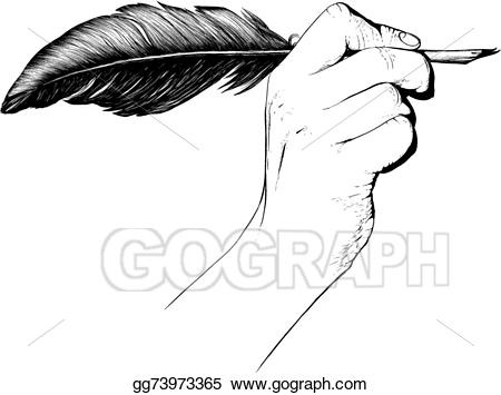jpg freeuse Quill clipart hand holding. Vector illustration pen eps.