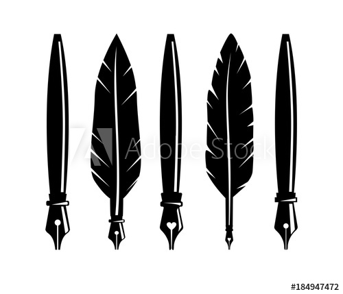 clip black and white download Fountain feather pen logo. Quill vector.
