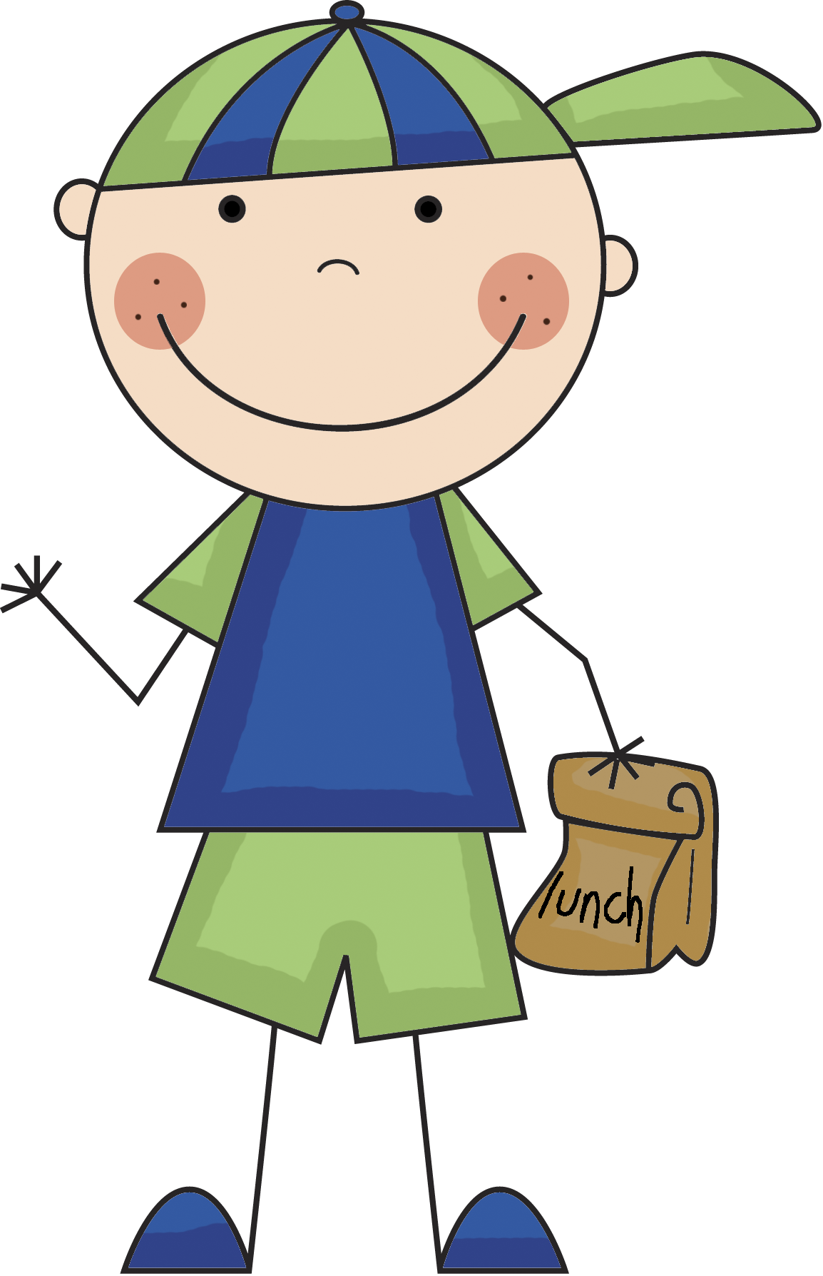 picture transparent library Boy lunch png clip. Drawing sticks kid