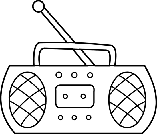 vector royalty free stock Cartoon radio by hallow. 80's clipart black and white