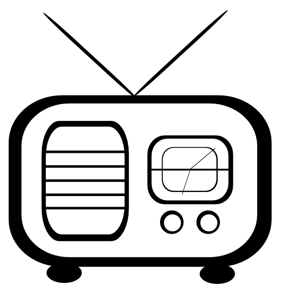 graphic library library Timey Radio Black White