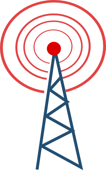 banner black and white library Vector radio tower broadcast. Advertising clipart broadcasting