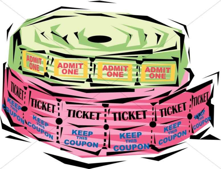 vector library stock Festive ticket rolls church. Raffle clipart canned meat