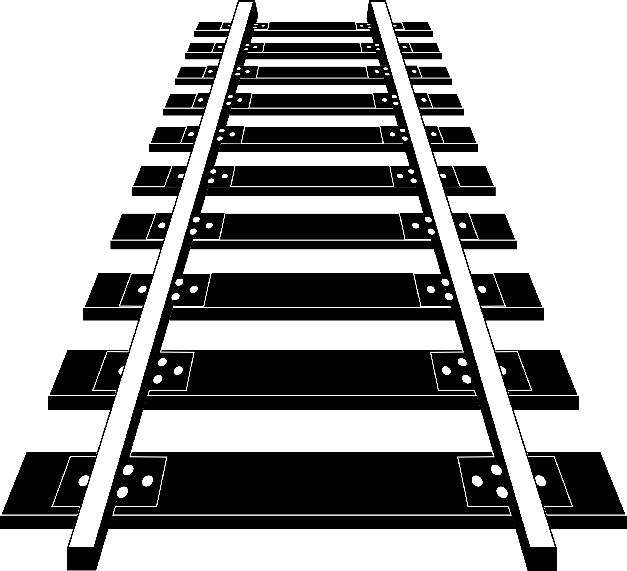 png stock Railroad tracks black and. Track clipart