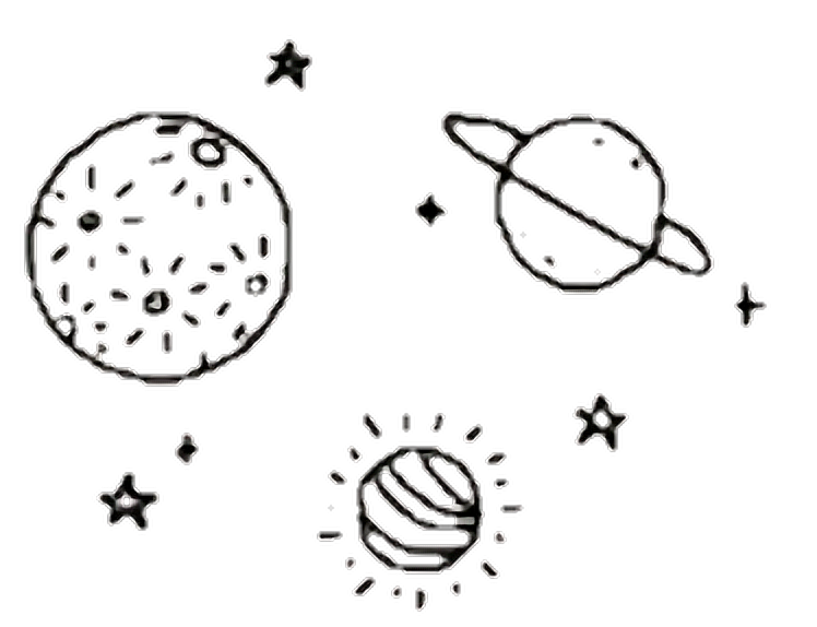 clip art black and white Planets Clipart aesthetic