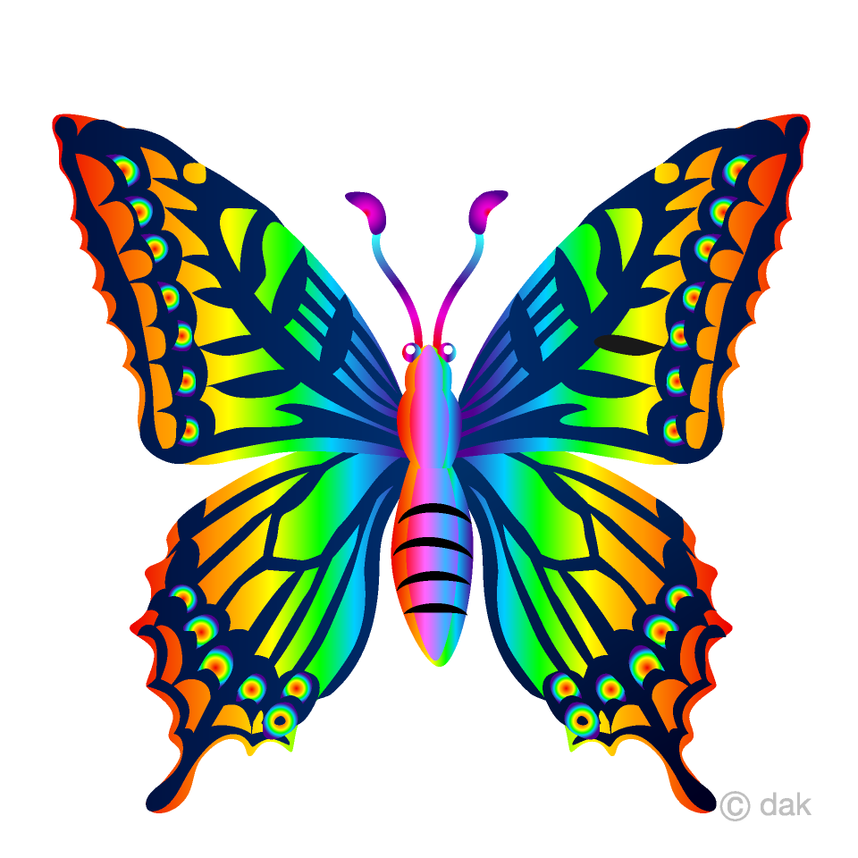 png transparent download Free picture illustoon . Rainbow butterfly clipart.