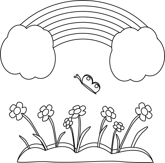 banner Drawing rainbows black and white. Happy rainbow scene clip