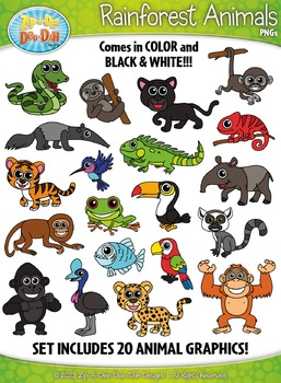 image free stock Animals zip a dee. Rainforest animal clipart